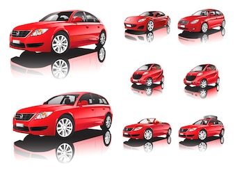 Three dimensional red car isolated on white background