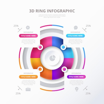 Three-dimensional ring infographic template