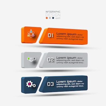 A three-dimensional square with three steps infographic illustration.