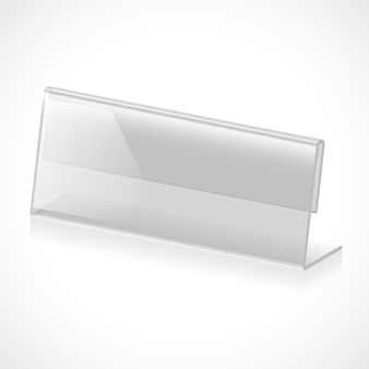Three-dimensional transparent stand for name, title or rank. vector illustration