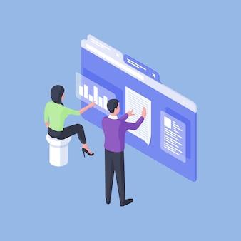Трехмерное векторное изображение мужчин и женщин, анализирующих диаграмму и информацию во время работы на веб-странице на синем фоне