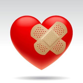Трехмерное раненое красное сердце с изолированными медицинскими пластырями
