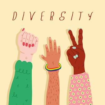 Three diversity hands humans up and lettering  illustration