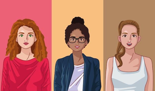 3명의 다양성 여성