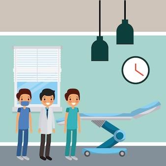 Three doctors male in hospital room wheel bed