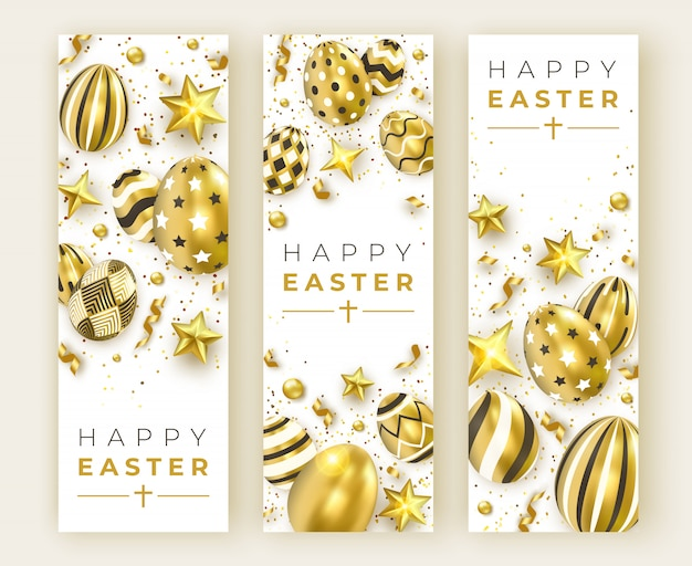 Three easter vertical banners with realistic golden decorated eggs, ribbons, stars and colorful balls.