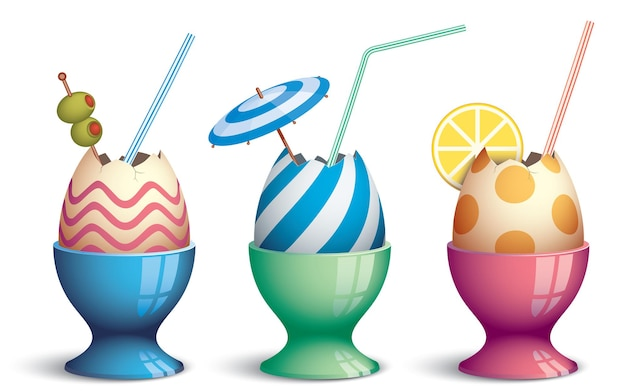 Three eggcups with eggs and drink straw like cocktail glasses