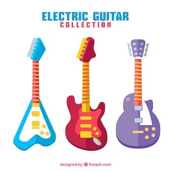 Три электрогитары разных цветов и дизайна