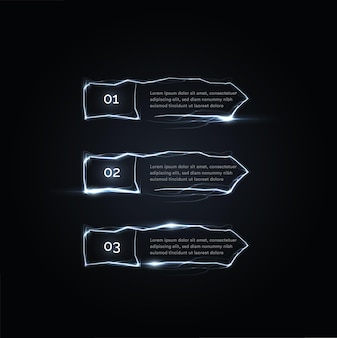 オプションの右側にある3つの電気パルスまたは稲妻ステップベクトルボタン矢印
