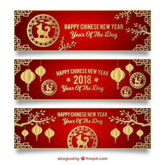 Three elegant red chinese new year banners