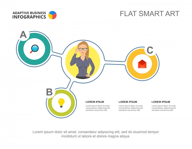 プレゼンテーションのための3つの要素のフローチャートテンプレート。ビジネスデータの視覚化。