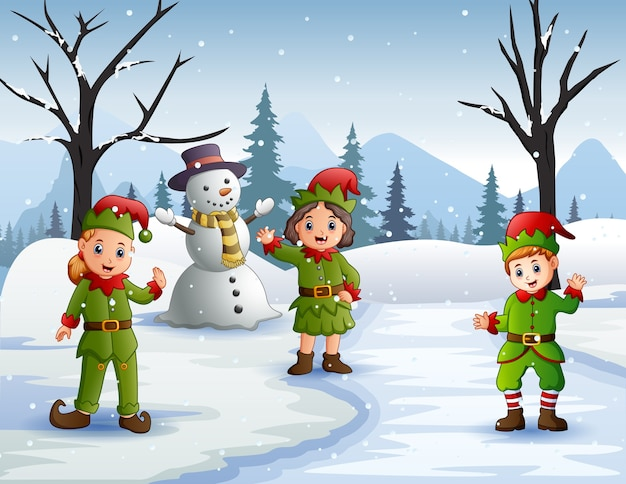 Three elves waving in the snowy forest