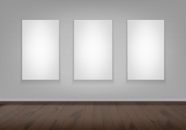 Three empty blank white mock up poster picture frame on wall