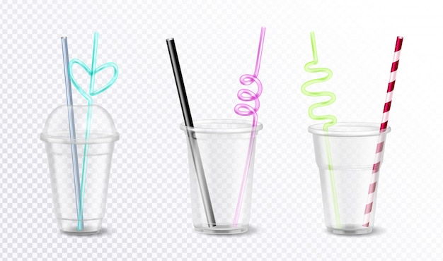 Three empty disposable plastic glasses with unusual colorful straws set isolated on transparent background realistic  illustration