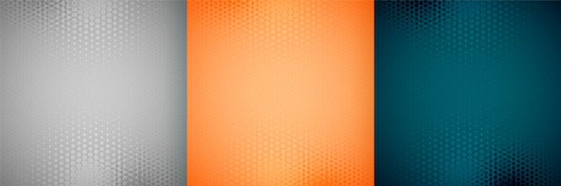 Three empty halftone background set design pattern