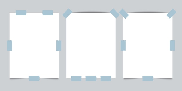 회색 바탕에 스카치 테이프로 세 빈 종이.