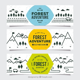 森の冒険の三つの素晴らしいバナー