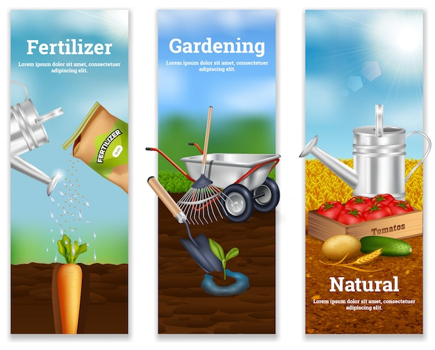 Three farming vertical banners