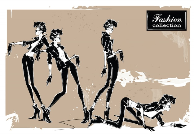 スケッチスタイルの3人のファッションの女性。
