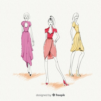 Three fashion women models posing, sketch style
