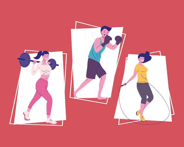 Three fitness persons practicing sports