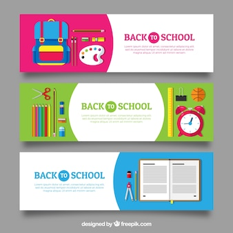 Three flat back to school banners