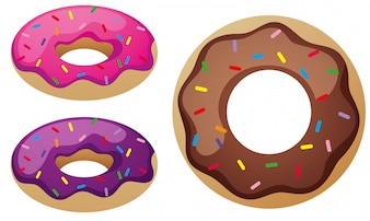 Three flavors of donuts