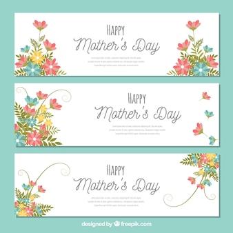 母の日のための3つの花のバナー