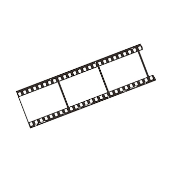 Three frames of dia positive 35mm film snip, simple black icon isolated on white