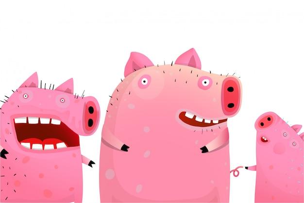 3つの面白いかわいい豚の肖像画