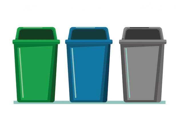 Three garbage can icon cartoon