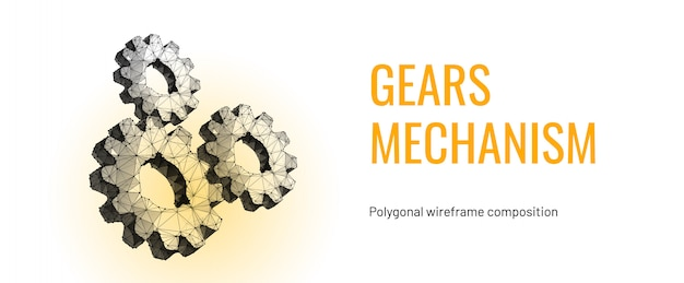 Three gears. low poly wireframe