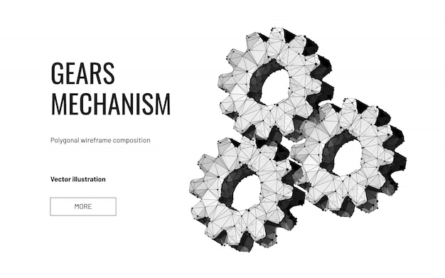 Three gears in polygonal wireframe style