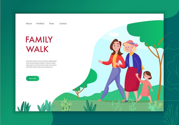 Three generation family spending time together flat concept banner with grandma mother kid walking outdoor  illustration