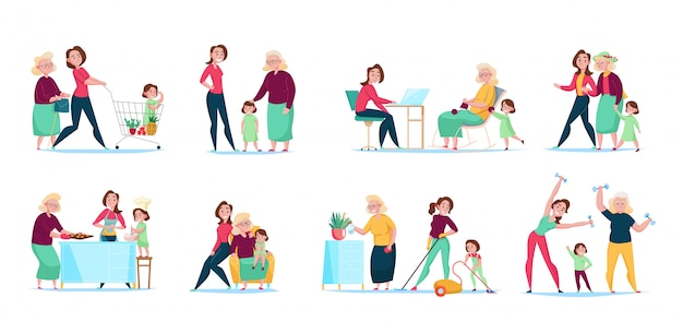 Three generations women family daily routine 8 flat compositions horizontal sets with shopping cleaning cooking  illustration