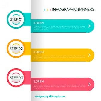 Three geometric infographic banners with different colors