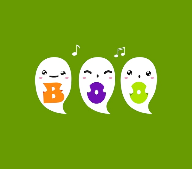 Three ghost is holding boo letters on green background