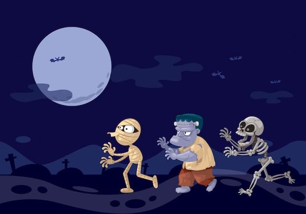 Three ghosts cartoon at night.
