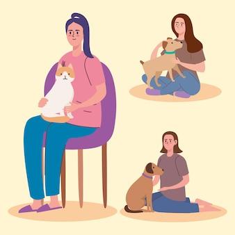 Три девочки и домашние животные