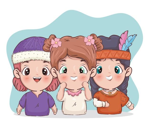 Three girls cartoons illustration
