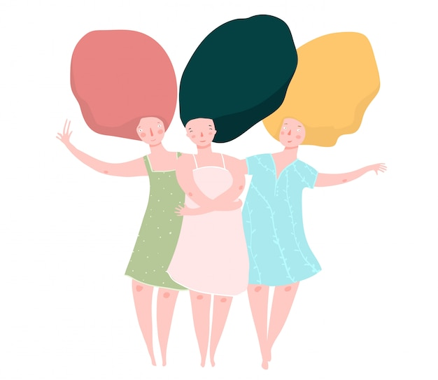 Три подружки с длинными волосами
