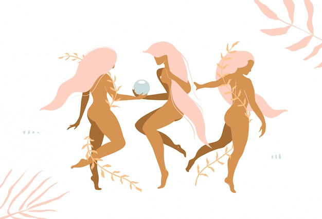 Три девушки украшают элегантных молодых женщин цветочным декором современного графического дизайна.