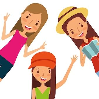 Three girls happy waving hand with map tourist