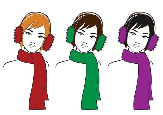 Три девушки в зимнем шарфе и меховых наушниках блонди, шатенка и брюнет