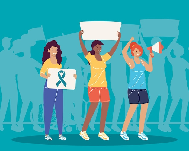 Три девушки поддерживают героев дела