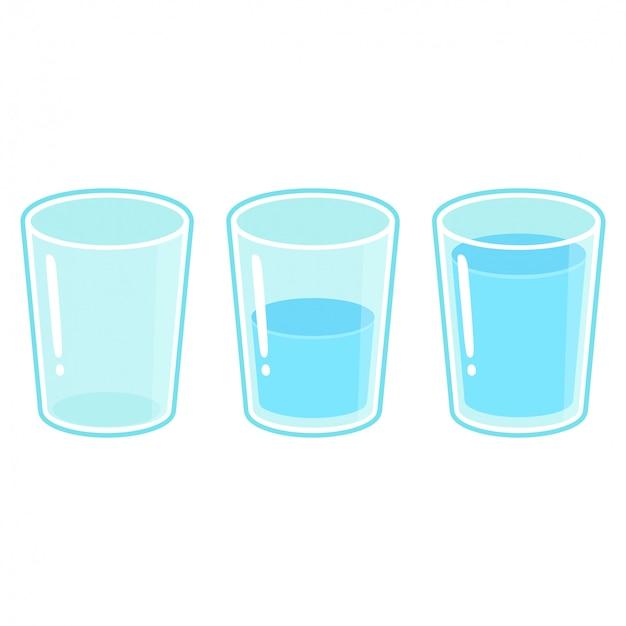 Three glasses of water set