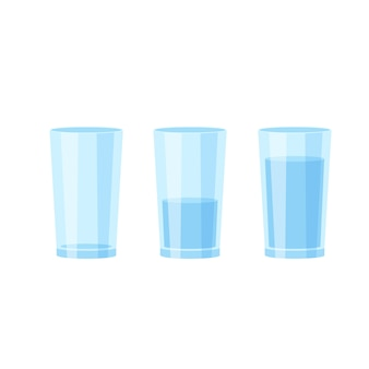 Three glasses of water