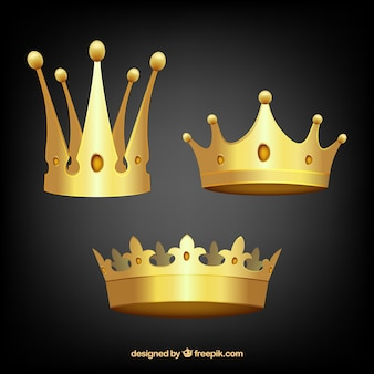 Three gold crowns in realistic design