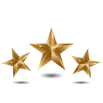 Three gold stars on white background