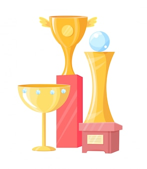 Three golden cups isolated